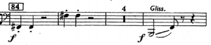 "Excerpt from the third trombone part of the Fourth Movement of Bartók's ""Concerto for Orchestra."""