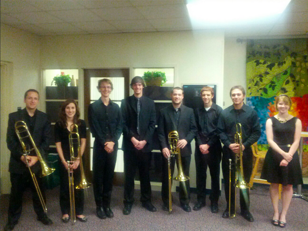 Messiah College Trombone Ensemble Fall 2012. l to r: Michael Clayville, Caroline Meyer, James Wilson, Evan Savage, Wes Thompson, Joel Bauman, Zach Long, Lydia Baranoski