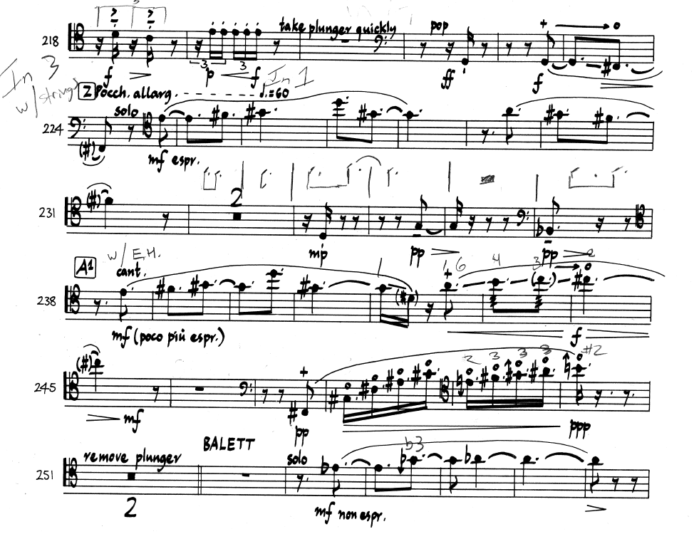 """Excerpt from the trombone part to """"Living Toys"""" by Thomas Adès."""